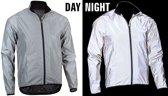 Hardloopjack - Runningjack - Hardloop jacket - Windjack Loopjas Hardloopjas - Waterdicht Winddicht - Lichtgewicht Opvouwbaar - Fluorescerend zilver - Maat M