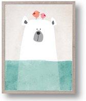 Postercity - Design Canvas Poster Ijsbeer met  Vogeltjes / Kinderkamer / Muurdecoratie / 40 x 30cm / A3