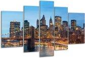 Glasschilderij Brug | Blauw, | 170x100cm 5Luik | Foto print op Glas |  F005734