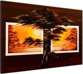 Schilderij handgeschilderd Boom | Bruin , Oranje , Geel  | 120x70cm 1Luik