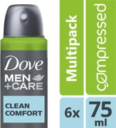 Dove Men+Care Clean Comfort - 6 x 75 ml - Deodorant Spray - Voordeelverpakking