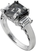Diamonfire - Zilveren ring met steen Maat 17.5 - Grijze Steen - Vierkant
