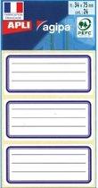 Agipa schooletiketten ft 75 x 34 mm (b x h), 24 etiketten per etui, blauwe rand, gelijnd