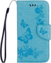 Let op type!! Voor Galaxy A7 (2017) / A720 vlinders horizontale Flip reliëf lederen draagtas met houder & kaartsleuven & portemonnee & Lanyard (blauw)