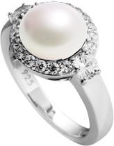 Diamonfire - Zilveren ring met parel Maat 17.5 - Parel - Pav' bezette rand