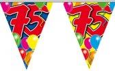 2x Leeftijd versiering vlaggenlijnen / vlaggetjes / slingers 75 jaar geworden thema 10 meter