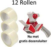 12 Rollen - Verpakkingstape Breed Plakband 50 mm x 66 mtr + Gratis Dozensluiter