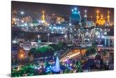 Het kleurrijke en verlichte stadsdeel van het Iraanse Mashhad Aluminium 180x120 cm - Foto print op Aluminium (metaal wanddecoratie) XXL / Groot formaat!