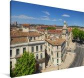 Uitzicht over de stad Nîmes in Frankrijk Canvas 30x20 cm - klein - Foto print op Canvas schilderij (Wanddecoratie woonkamer / slaapkamer) / Europese steden Canvas Schilderijen