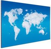 Wereldkaart wolken Aluminium 60x40 cm