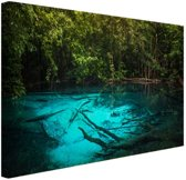 Helderblauw meer in de jungle Canvas 120x80 cm - Foto print op Canvas schilderij (Wanddecoratie)