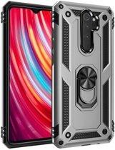 Teleplus Xiaomi Redmi Note 8 Pro Case Vega Ringed Tank Cover Silver + Nano Screen Protector hoesje