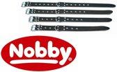 Nobby halsband softleer, noppen bruin 40-50 x 3 cm - 1 st