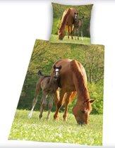 Paarden dekbedovertrek - Groen - 1-persoons (140x200 cm + 1 sloop)
