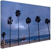 Manhattan beach zeezicht Canvas 120x80 cm - Foto print op Canvas schilderij (Wanddecoratie)