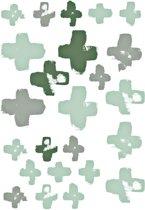 Stapelgoed - Muurstickers - Kruisjes - groen/grijs - 70x50 cm