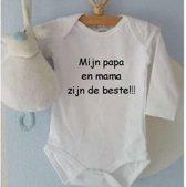 Rompertje mijn papa en mama zijn de beste   Lange mouw   wit  maat 62/68 Geboorte Cadeau / Kraamcadeau Baby cadeautje