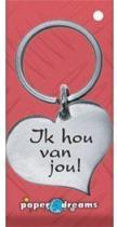 RVS Hart Sleutelhanger - Ik hou van jou!