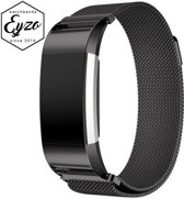 Milanees Horloge Band Voor de Fitbit Charge 2 - Milanese Metalen Watchband - Armband RVS - Zwart / Black - Medium / Large