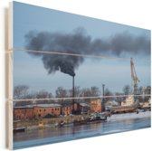Industriële haven van Irkoetsk Vurenhout met planken 90x60 cm - Foto print op Hout (Wanddecoratie)