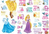 Disney Prinses - Muurstickers - Alfabet - Meerkleurig - 17,5x33,5 cm