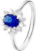 Lucardi Zilveren Ring - Met Blauwe Zirkonia - Maat 55