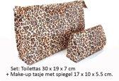 2 Delige Toilet- & Make-up tas (met Spiegel) set-Panter