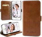 Echt Leer cover - iPhone 5 & 5S hoesje - Lederen Book Case Bruin - BookCase (Rustic Cognac)