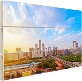 Skyline Peking Hout 60x40 cm - Foto print op Hout (Wanddecoratie)