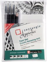 Zentangle Apprentice tool set 10 (3 Pigma Pen fineliners, 1 Bruynzeel doezelaar, 1 Bruynzeel HB potlood, 5 witte tiles)