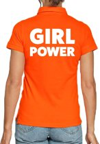 Oranje poloshirt / polo t-shirt Girl Power oranje dames - Koningsdag kleding/ shirts S