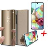 Samsung Galaxy A71 Hoesje - Book Case Wallet Spiegel Case + Screenprotector - Goud