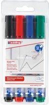 Edding 360 whiteboard marker 1.5-3mm ronde punt - 4 stuks/kleuren