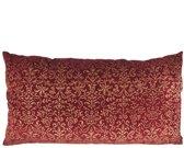 Gouround interior - langwerpig - XL Fluwelen kussen - Bordeaux/Gouden print - 90 x 45 cm