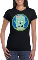 Halloween zombie t-shirt zwart dames - Halloween kostuum XL