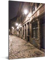 Franse lantaarnpalen in de straten van Rijsel Aluminium 40x60 cm - Foto print op Aluminium (metaal wanddecoratie)