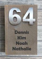 Naambordje voordeur steigerhout Met èchte RVS huisnummercijfers | houten naambord 30x20 cm