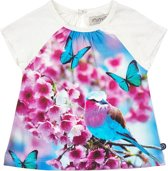 Minymo - meisjes t-shirt - vlinder - wit - Maat 98