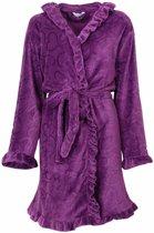 Romantische fleece dames badjas met capuchon. Paars V10-11/T17.