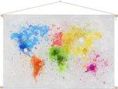 Wereldkaart wanddecoratie kleur schoolplaat 60x40 cm platte latten - Textielposter