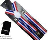 Bretels - Rood wit blauw - Sorprese - met stevige clip - luxe - heren bretels - unisex