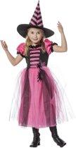 Heks & Spider Lady & Voodoo & Duistere Religie Kostuum | Paranormale Heks Roze / Zwart | Meisje | Maat 116 | Halloween | Verkleedkleding