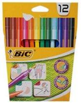 Afbeelding van 12 Kleurstiften - Viltstiften - merk BIC - kwaliteit - dunne punt - voor kinderen als volwassenen - kleuren - stiften - tekenen - knutselen