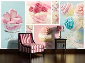 Turquoise | Pink Photomural, wallcovering