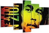 Glasschilderij Man | Groen, Zwart, Oranje | 170x100cm 5Luik | Foto print op Glas |  F003690