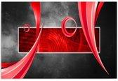 Schilderij - Abstract in beeld, rood,zwart, 1 deel