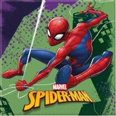 40x Marvel Spiderman themafeest servetten/servetjes 33 x 33 cm - Kinderfeestje papieren tafeldecoraties