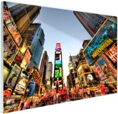 Times Square in New York Glas 90x60 cm - Foto print op Glas (Plexiglas wanddecoratie)