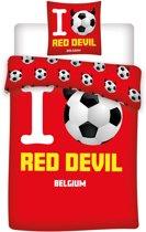 I voetbal Red Devil Belgium - Dekbedovertrek - Eenpersoons - 140x200 cm + 1 kussensloop 63x63 cm - Multi kleur