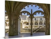 Gevel in het Mosteiro dos Jerónimos in Lissabon Aluminium 80x60 cm - Foto print op Aluminium (metaal wanddecoratie)